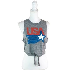 Chaser Retro Tie USA Gray Muscle Tee Tank Shirt M